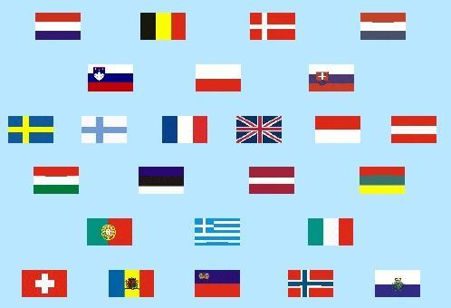 Flaggen der europäischen im Shopsystem hinterlegten Länder