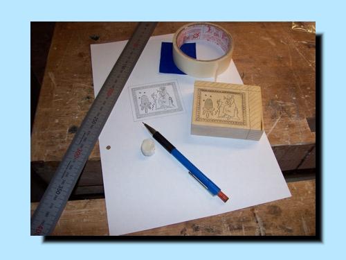 Ãœbertragen des Entwurfes vom Papier aus Holz